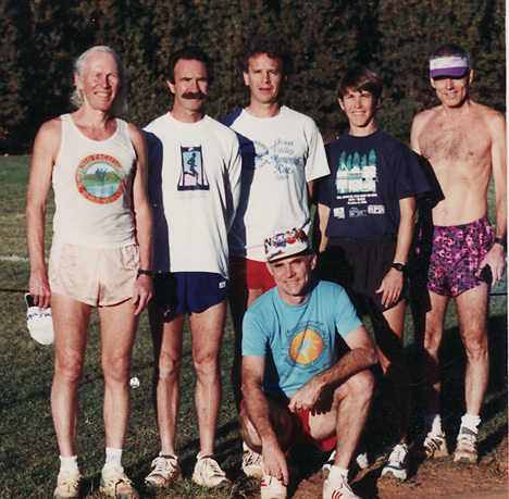 Carl Ellsworth on left, several fast runners, and Turtle George at far right.