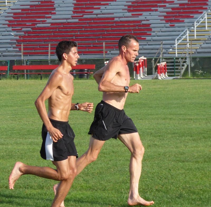"Grant Fisher and Mike Scannell warm down at ""old-man pace."" Click to enlarge."