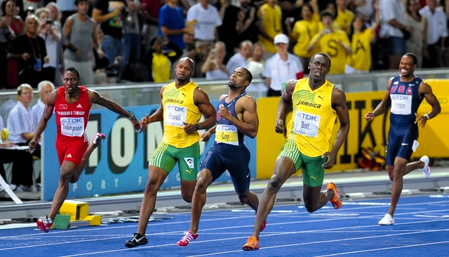 Usain Bolt's 100m WR, Berlin 2009. Scientists noticed a strange thing about the race. Source: Wikimedia Commons