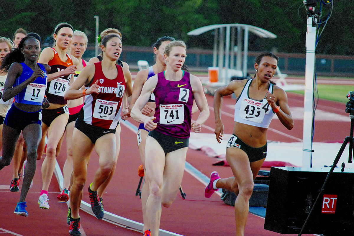 Phoebe Wright (741) runs a 4:14.80 for second in the 1500 at the 2015 Payton Jordan meet. Photo by an Old Crock; click to enlarge.