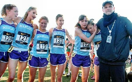 A happy team. Bill Aris and the NXN-champion girls of Fayetteville-Manlius. (Click to enlarge.)