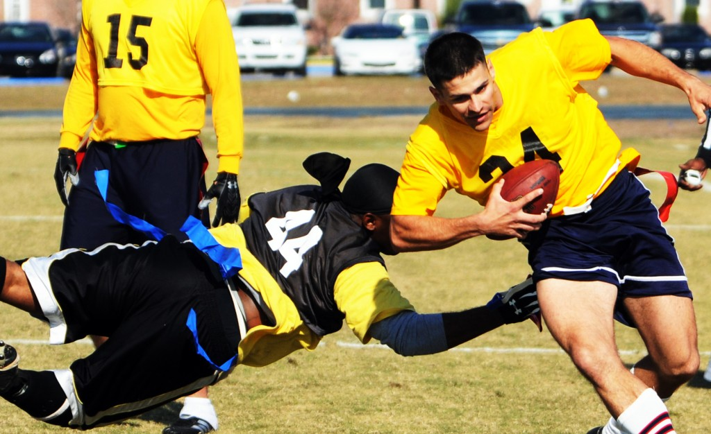 You don't have to be a Megatron or lack talent to play flag football. Army-Navy game, 2008. Click to enlarge.