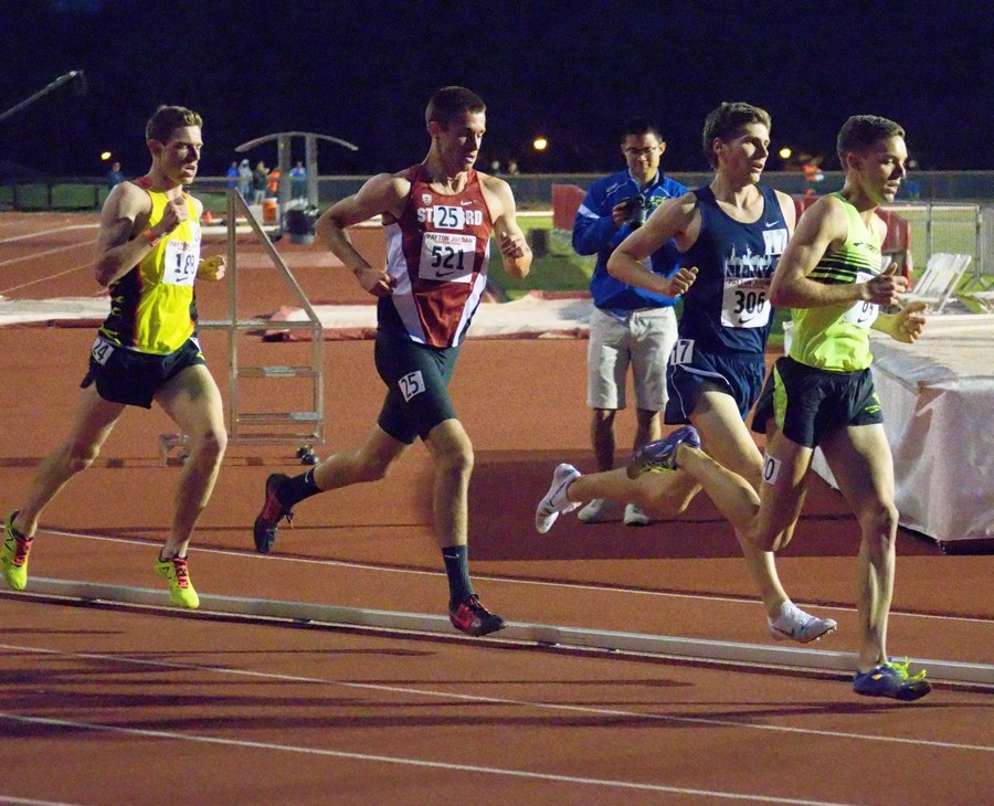 Sean McGorty runs a fast 5000 at the Payton Jordan Invitational meet in 2015. Click to enlarge; Stanford photos by George Beinhorn