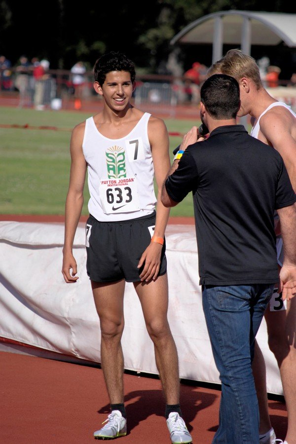 Grant Fisher after running the 1500 in a very respectable 3:42 at Payton Jordan (Grant would come to Stanford in the fall).